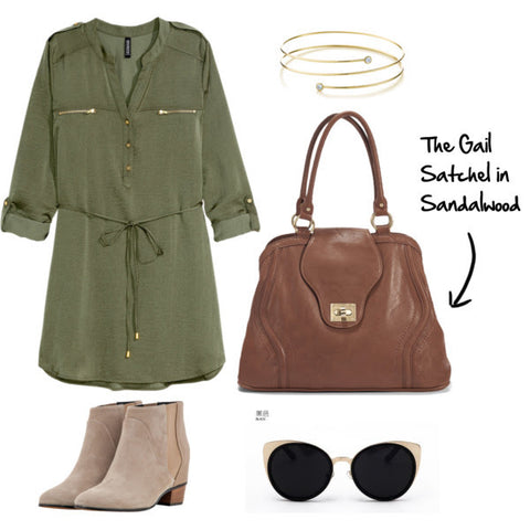 Learn how to style the Sandalwood Gail Satchel Diaper Bag from Newlie