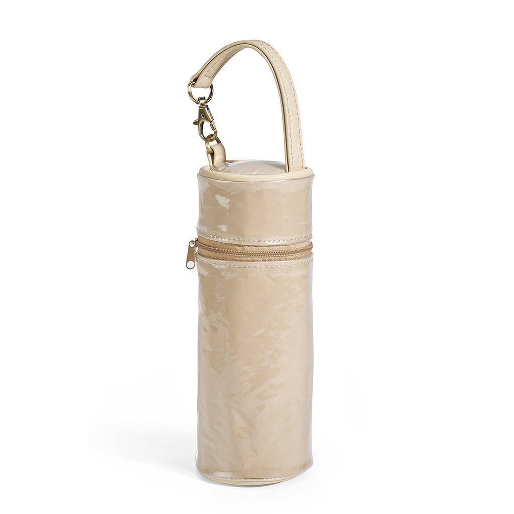 When you to keep your baby bottle warm, this cute tote is lined with water resistant nylon.
