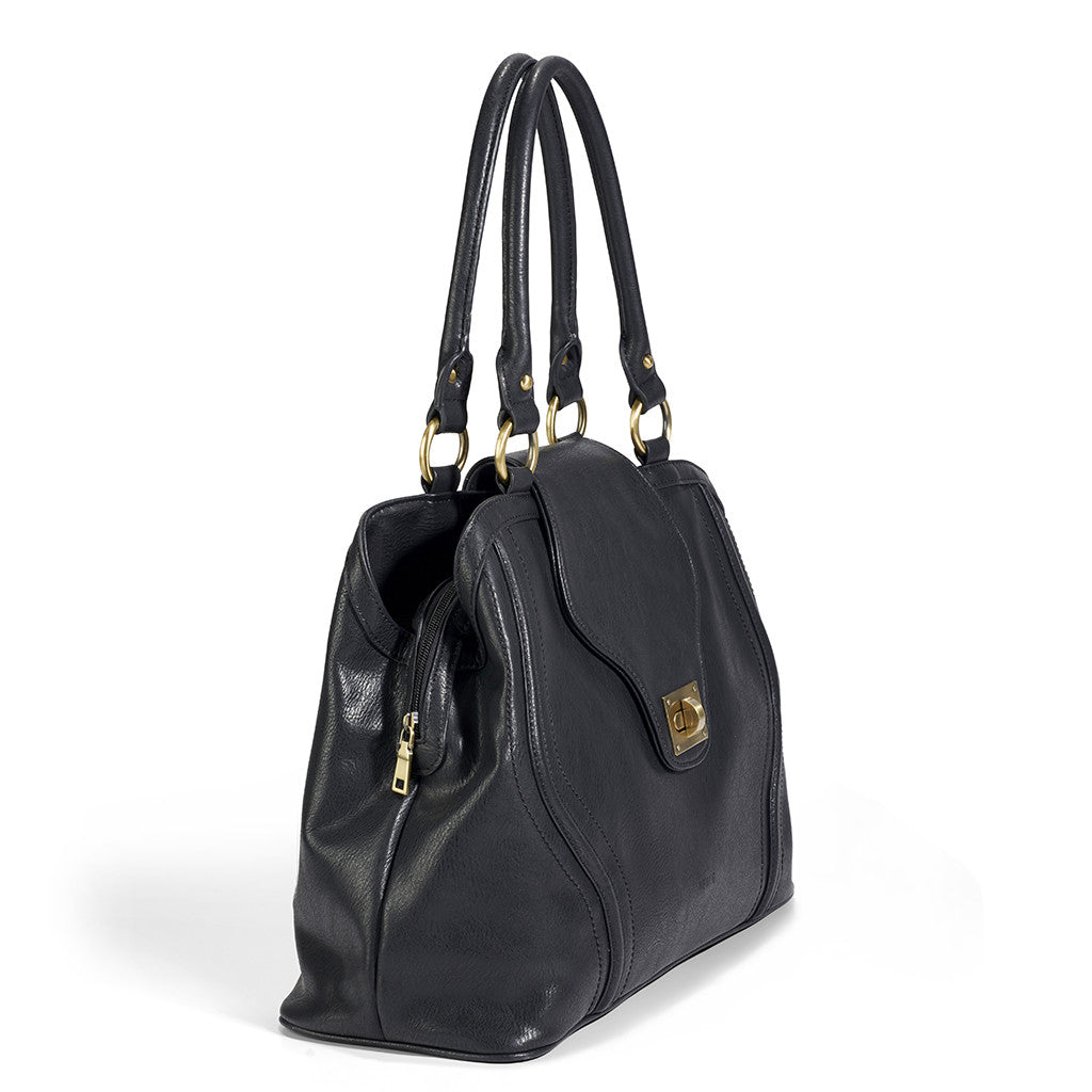 When it comes in Black, the Gail Satchel Diaper Bag is the epitome of 21st century mom style.