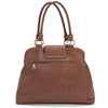 Backside view of chic Gail Satchel Diaper Bag in Sandlewood.