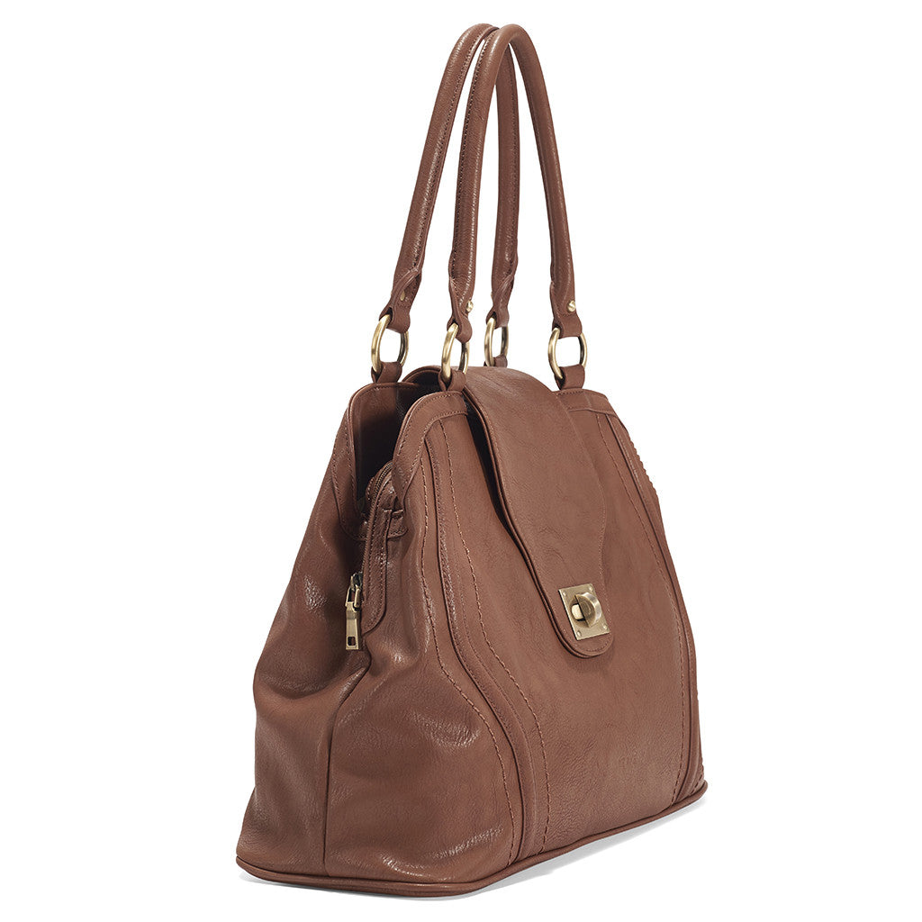 Side view of the spacious Gail Satchel Diaper Bag in Sandlewood.