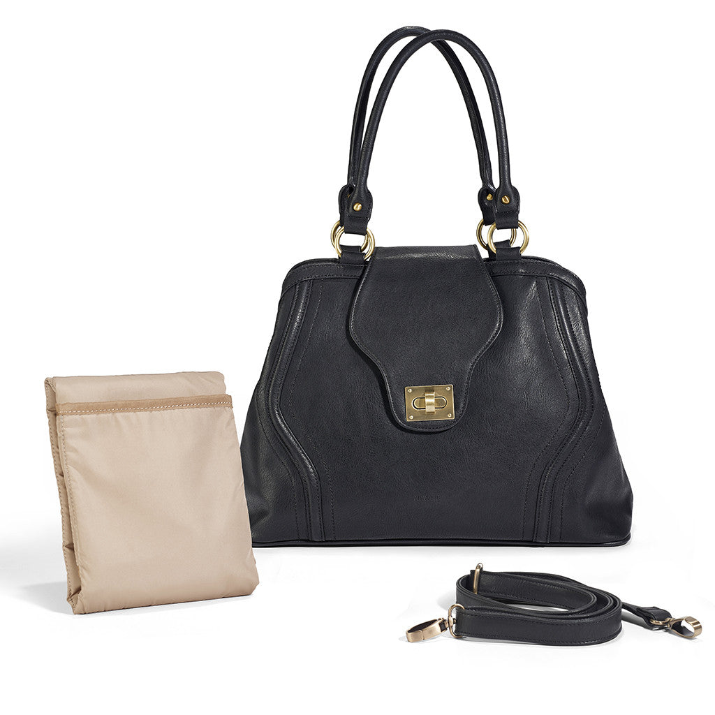 The Gail Satchel Diaper Bag in Black makes an amazing baby shower gift for expecting moms.