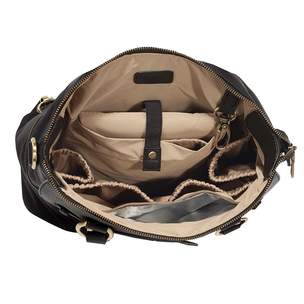 Newlie's Louise Backpack Diaper Bag in Black has a roomy interior for all your baby's needs.