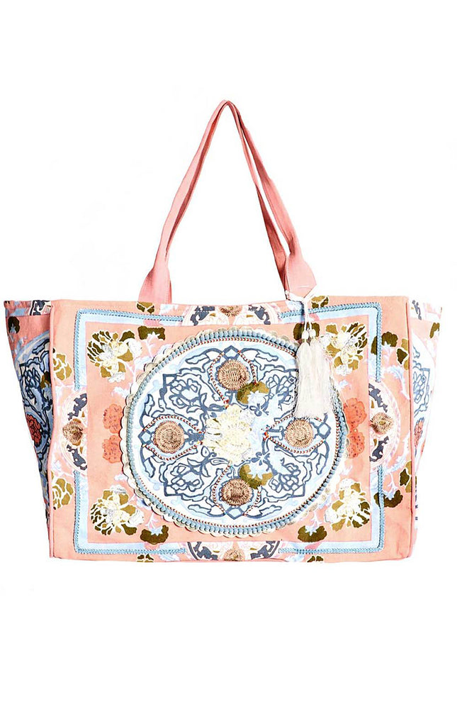 Boho Beach Bag Coral  By Debbie Katz - Surf Souleil
