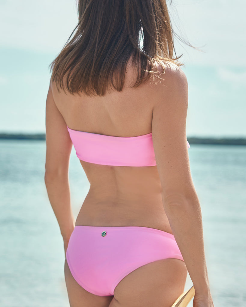 Surf Souleil Valentina Reversible Tie Bandeau Top in Passion Pink - Surf Souleil