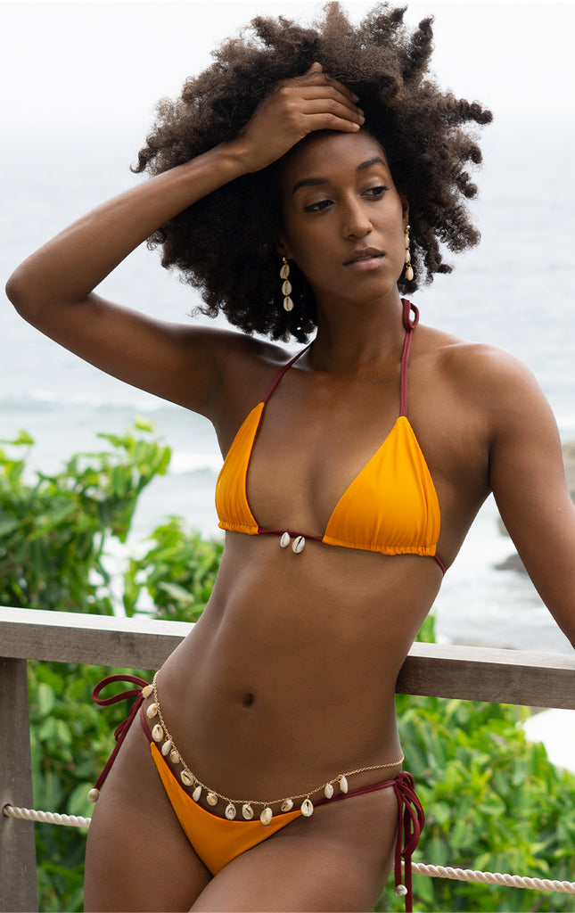 Surf Souleil Cowrie String Bikini Bottom in Nairobi / Mango - Surf Souleil