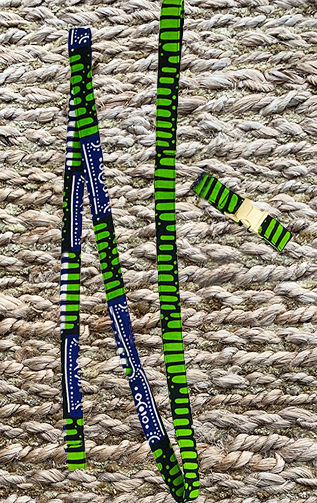 Doggy Matching Leash - Apple Green/Navy - Surf Souleil