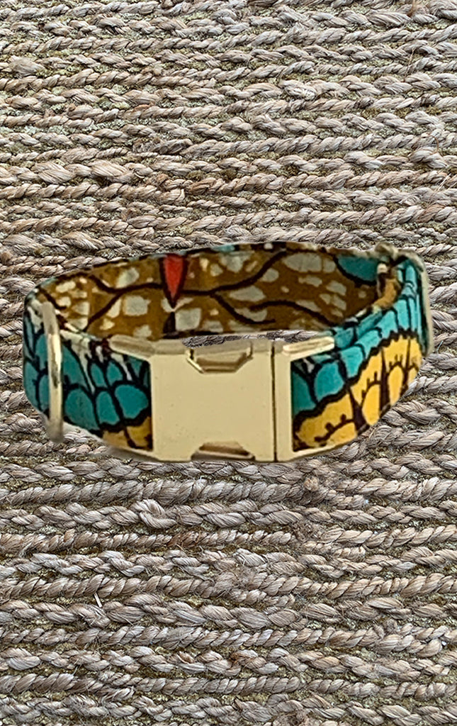 Doggy Collar - Turquoise Sun Print - Surf Souleil