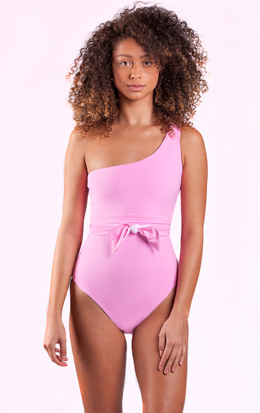 Fari Shoulder One Piece with Sash in Passion Pink