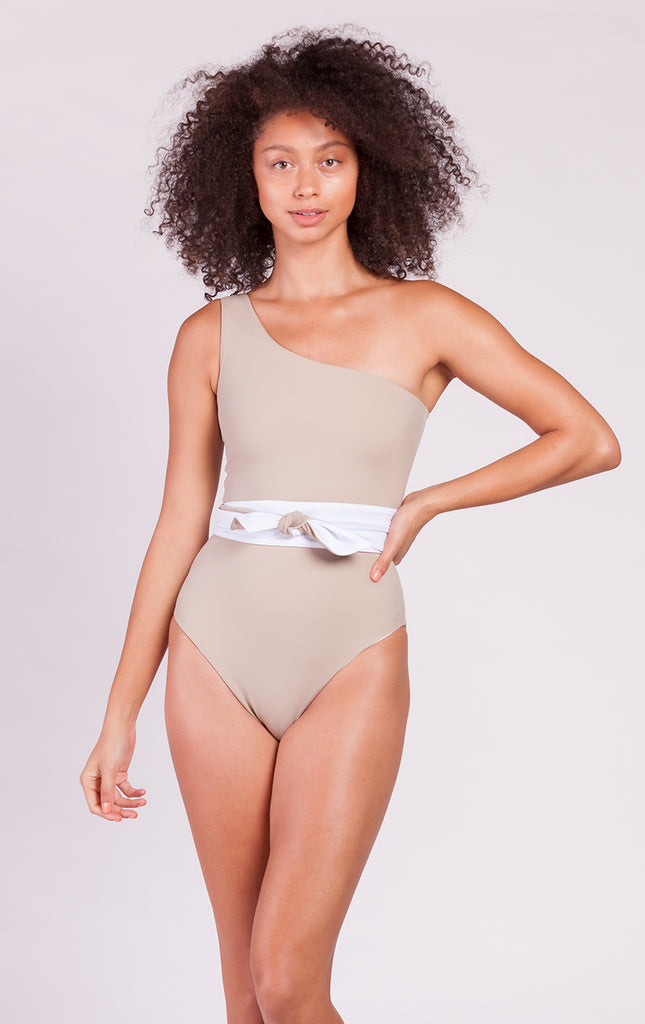Fari Shoulder One Piece with Sash in White / Taupe