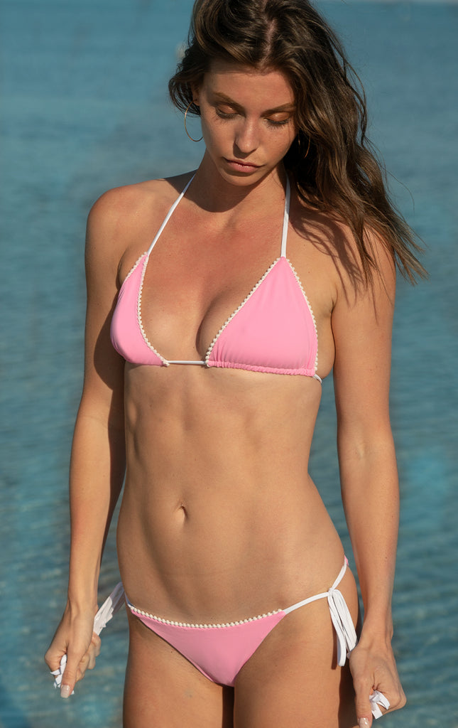 Surf Souleil Malina Pom String Bikini Top in Passion Pink - Surf Souleil