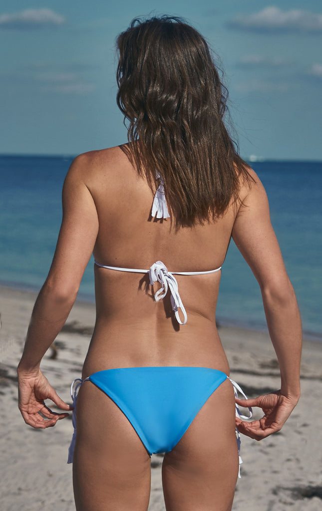 Surf Souleil Malina Pom String Bikini Bottom  in Caribbean Blue - Surf Souleil