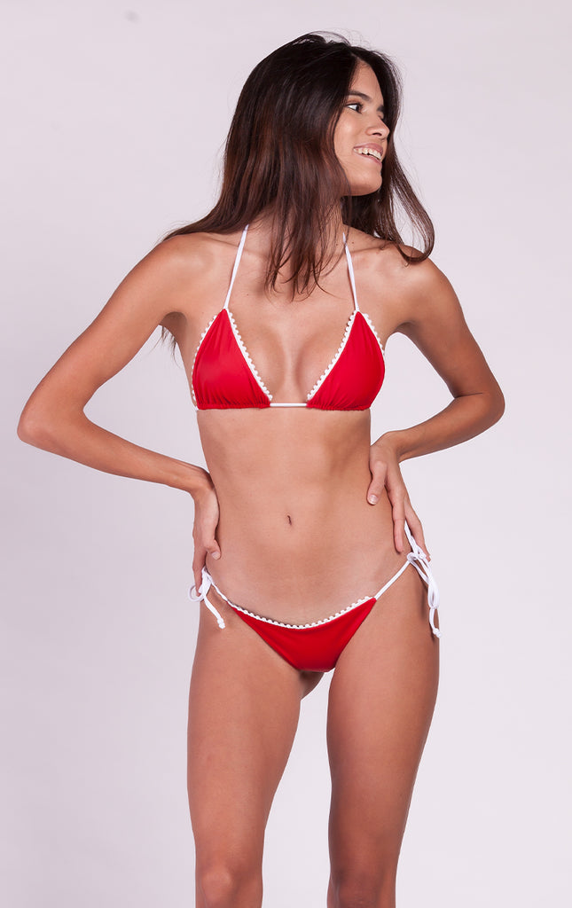 Surf Souleil Malina Pom String Bikini Top in Sporting Red - Surf Souleil