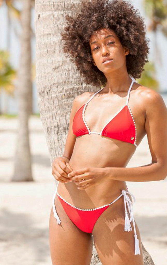 Surf Souleil Malina Pom String Bikini Bottom  in Sporting Red - Surf Souleil