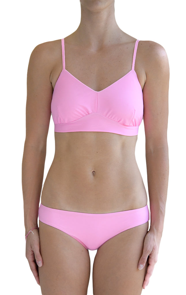 Surf Souleil Retro Bralette Top in Passion Pink - Surf Souleil