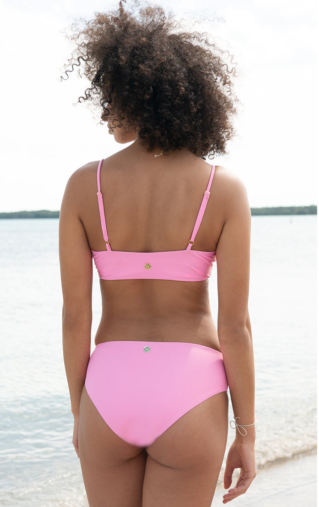 Eos Reversible Retro Bottom in Passion Pink/White (High Waisted) - Surf Souleil