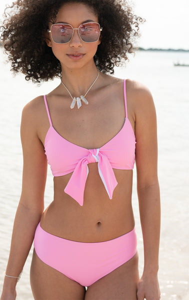 Eos Reversible Retro Bottom in Passion Pink/White (High Waisted)