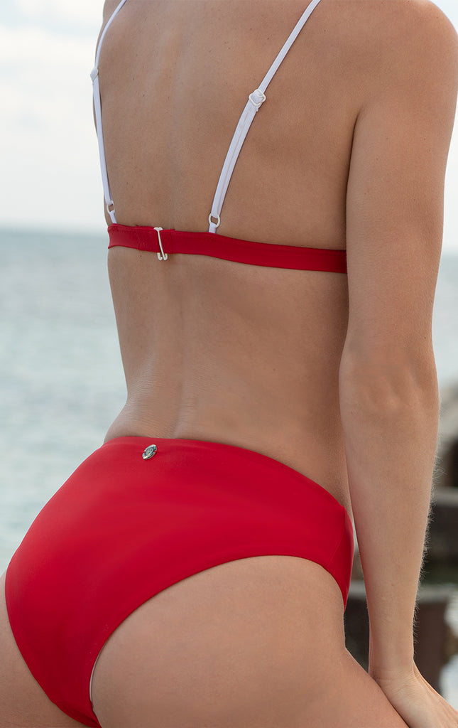 Eos High Waister Reversible Retro Bottom Red/White - Surf Souleil