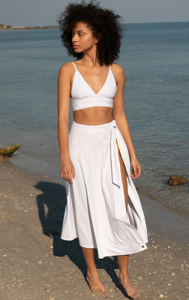 Talia Slit Skirt Cover-Up - Surf Souleil