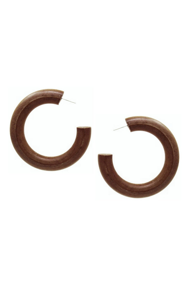 Natural Wood Hoop Earrings - Surf Souleil