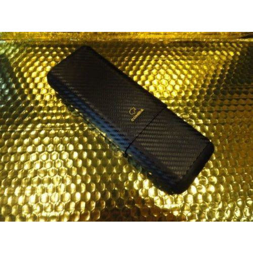 Cohiba Black Carbon Fiber Case holds 3 Large cigars inside wood tubes