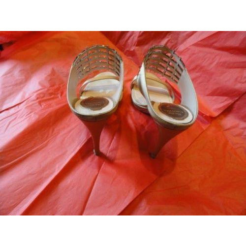 Rene Caovilla Ladies Gold colored mules size 38 made in Italy