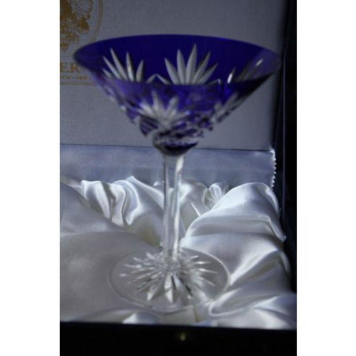 Faberge Odessa Blue  Martini Glass without the  original presentation box