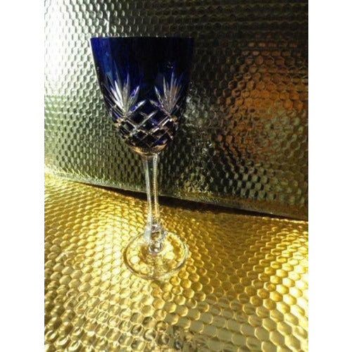 Faberge Odessa Cobalt Blue Hock Crystal Goblet without box