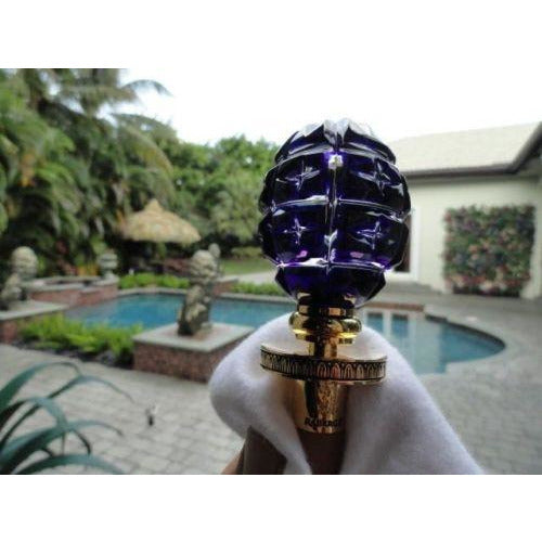 Faberge Imperial Star Cut Cobalt Blue Crystal Egg Bottle Stopper in Orginal Box