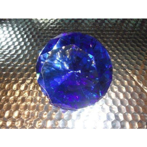 Blue Crystal Cut Clear Paperweight Faceted Prism Glass Art Diamond Shape