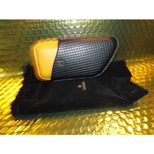 Cohiba Black & Gold Leather Cigar Case holds 3 Robusto size new in the box