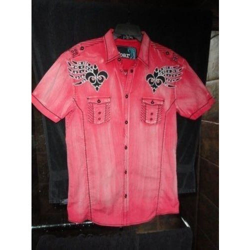 Roar mens  red  & black embroidered casual designer shirt Medium