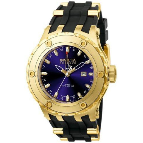 Invicta Men's 6185 Reserve Collection GMT 18k Gold-Plated Stainless Steel Black Rubber Band