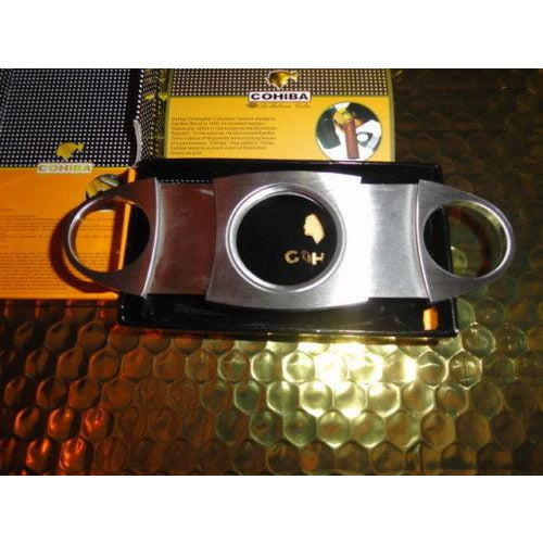 COHIBA  Stainless Steel Dual Blades Cigar Cutter , lighter and cigar case