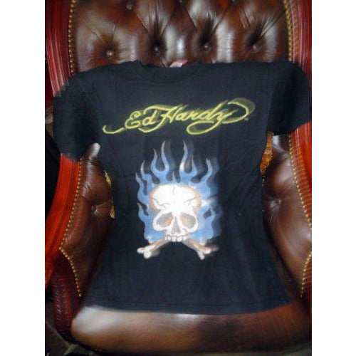 Ed Hardy Mens Designer Black T-Shirt Preowned Good Condition
