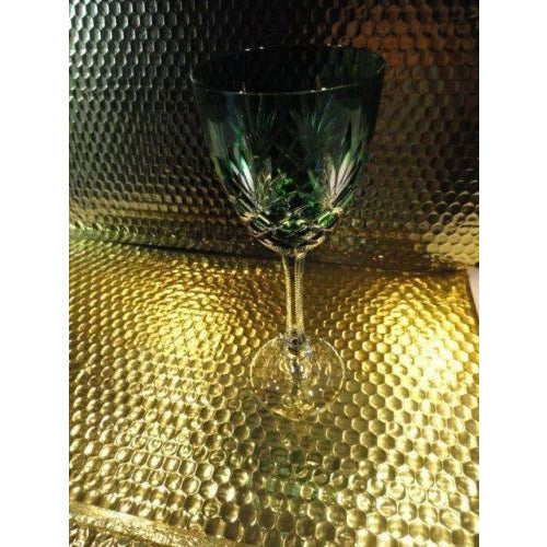 Faberge Emerald  Green Odessa Hock Crystal Wine Glass