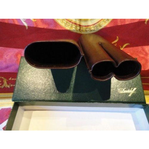 davidoff cigar case Brown Leather for 2 cigars new in original box