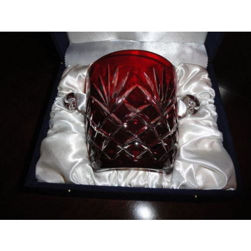 FABERGE ODESSA RUBY RED CASED CUT TO CLEAR CRYSTAL ICE BUCKET
