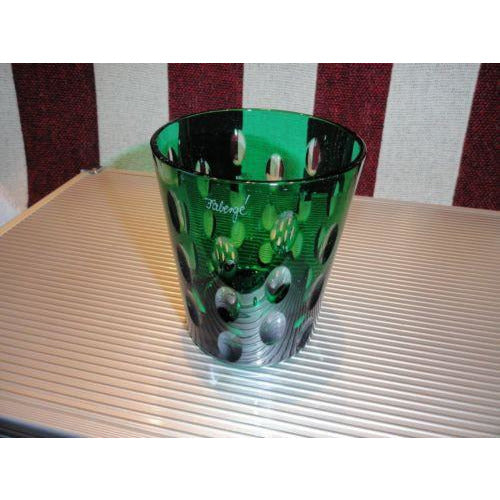 Faberge Emerald Green Blue  Crystal  Old Fashion Glass