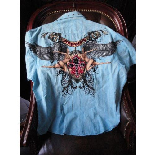 Retrofit XXX- Large  Short Sleeve Shirt Light Blue  with Embroidery Front & Back