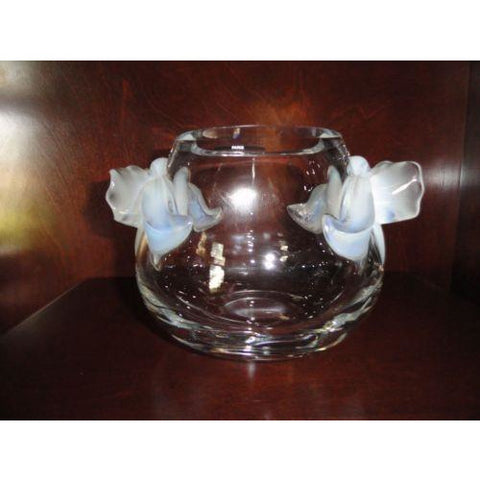Lalique Crystal Orchidee Vase Clear - Opalescent Orchids in the original box