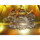 "Brass Wall Plaque of Sailing Ship 15 "" across by 13.25"" H"