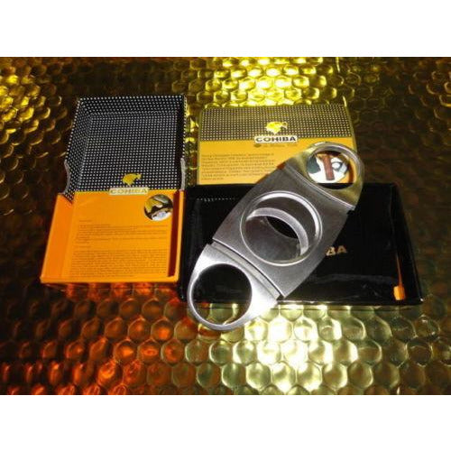 COHIBA  Stainless Steel Dual Blades Cigar Cutter new box with carrying pouch