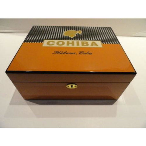 Cohiba Black & Gold Leather & wood Cigar Case holds 3 Large cigars & Humidor new