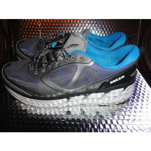 HOKA ONE ONE Mens CONQUEST Grey, Blue, White Running Shoe Size US-13