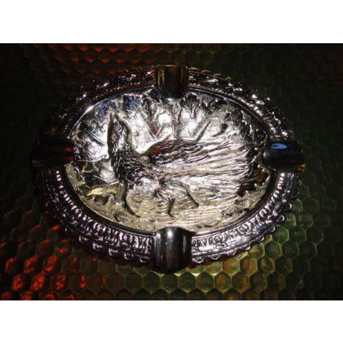 "Bird style brass chromed plated ashtray 7"" L x 5.5"" W"
