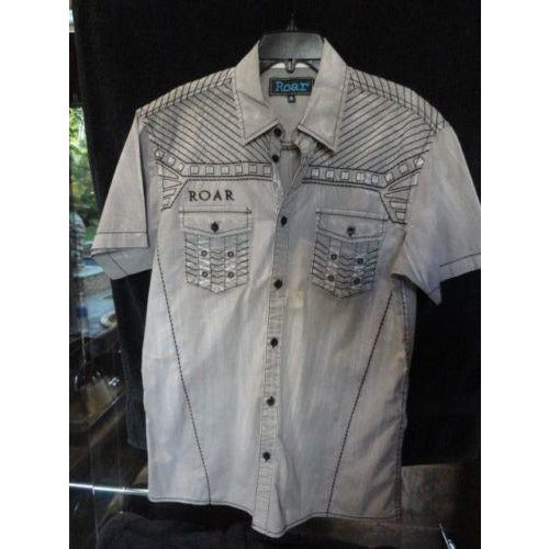 Roar mens  Gray  & Black embroidered casual designer shirt Medium