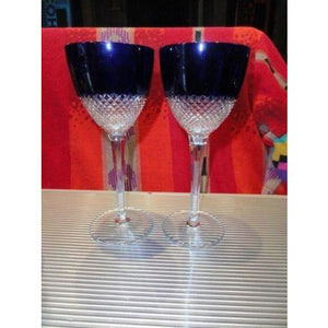 Faberge Crystal Purple  Goblet Glasses