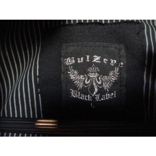Bulseye Black Label mens casual designer  shirt with striped with crystals Large