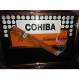 "Cohiba cigar scene  large size painting  43"" L x 31 W ""  brushed gold framed"